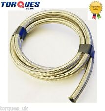 "Stainless Steel Braided Fuel Hose 17.5mm 11/16"" I.D 1m"
