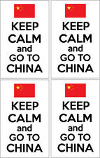 KEEP CALM AND GO TO CHINA - Chinese / East Asia x 4 VINYL STICKERS 14cm x 9cm