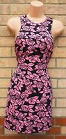 H&M PINK BLACK ROSES FLORAL SLEEVELESS BODYCON TUBE PENCIL SUMMER DRESS 8 S