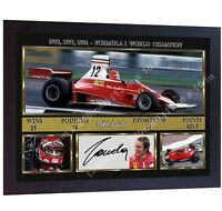 F1 icon Niki Lauda signed autographed photo print Ferrari Framed