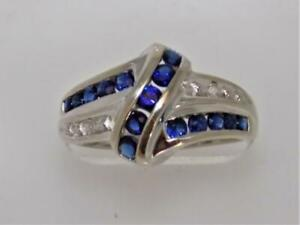 Enchanting !!! 10K White Gold Love Knot Ring w Natural Sapphire & Diamond sz 7