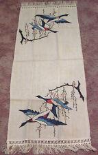 Vintage Table Runner Needlework Geese in Flight Lacy Tassels on Ends