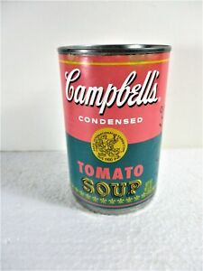"""CAMPBELL'S ANDY WARHOL PINK & GREEN TOMATO SOUP CAN, """"...THREE'S A PARTY""""."""