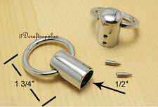 rope Barrier end stopper Cord end caps 12 mm 1/2 inch silver 8 pieces E29