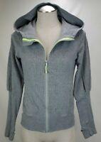Lululemon Womens Hoodie Sweatshirt Jacket Size 4 Gray Full Zip Hooded Thumbholes