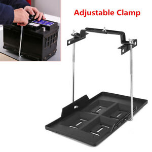 Adjustable Car Battery Mount Tray Battery Holder Base Bracket Clamp Kit Sturdy