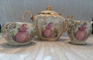Vintage Sadler Cube Teapot Jug Bowl Pinkie Crinoline Lady