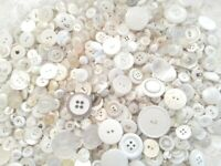 Lot 100 Mixed Assorted WHITE Vintage & New Buttons Wedding Crafts Bulk Free Ship