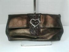 Brighton Flap Clutch Brown Metallic Bronze Silver Heart Evening Purse Foldover