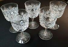 #5B -Antique American Brilliant Cut Glass Wine Glasses- Set of 5