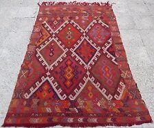 OBRUK Jajim Kilim Rug, Antique Turkish Embroidered Natural Wool Konya 4x5.8 ft