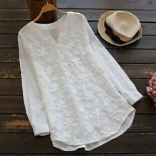 Women Autumn Long Sleeve  Embroidery Loose Tunic Tops Shirt Lace Crochet Blouse