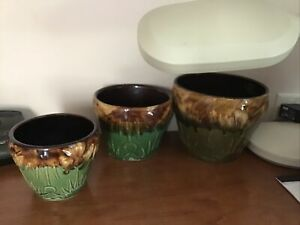 Vintage Majolica Mixed Green Blue Brown Glaze Moon & Sun Planter-Plant a lot BIG