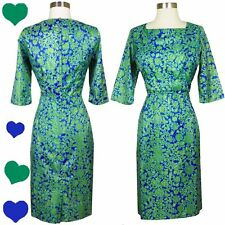 Vintage 50s 60s Blue Green Floral Sheath Dress M Mad ad Men Cocktail Party Pinup