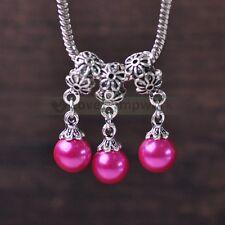 2/10pcs Tibetan Silver Spacer Beads Pearl Pendant fit Charm European Bracelets