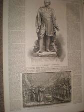 Statua DI SIR JOHN FRANKLIN E BASSORILIEVO WATERLOO Place London 1866 stampe