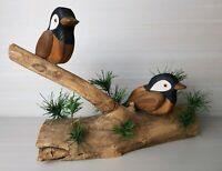 Wooden Decorative Chicadee Birds on a Branch, 2 Birds, Handmade & Handpainted ♡