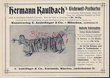 MÜNCHEN, Werbung 1900, C. Andelfinger & Cie. Ansichts-Post-Karten H. Kaulbach