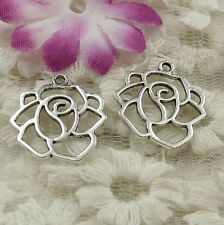Free Ship 100 pieces Antique silver flower charms 21x18mm #4566