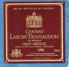 HAUT MEDOC CRU BOURGEOIS ETIQUETTE CHATEAU LAROSE TRINTAUDON 1981 RARE§10/08§