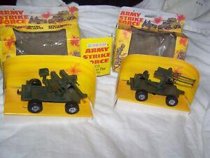 2 Lone Star Army Strike Force 1526 Twin Pom Pom Trailer Guns diecast Boxed 1977