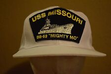 USS Missouri BB-63 Mighty Mo Navy White Baseball Hat Cap Embroidered Snap Back