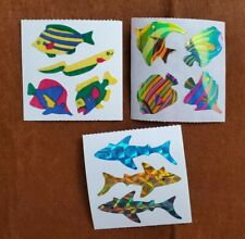 Fishes Shark Tropical Vintage Stickers Fuzzy Pearly Prismatic Great seven 3 mods