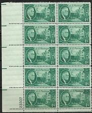US Scott #930 - 1¢ Roosevelt plate block of 10 Stamps MNH + HISTORY OF THE STAMP
