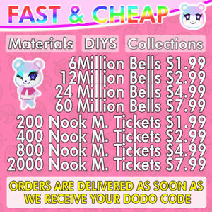 Animal Crossing:New Horizon Bells, Nook Miles Tickets, Materials Fast Delivery⚡