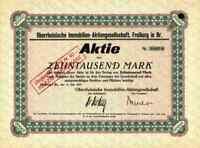 Oberrheinische Immobilien AG 1923 Freiburg Breisgau Stumm Gruppe 10.000 Mark