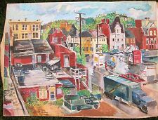 NORTHSIDE PGH    by Ruth Freeman ACRYLIC ON UNSTRETCHED CANVAS 35 X 47