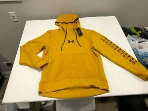 NWT $90.00 Under Armour Mens Summit Knit Hoodie Golden Yellow Size LARGE