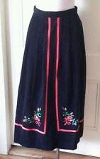 Susan Bristol Velvet Maxi Long Embroidered Ribbon Trim Skirt 10 Hong Kong Boho