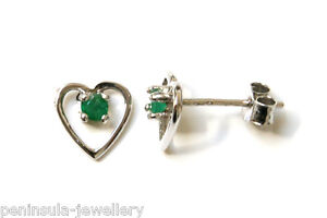 9ct White Gold Emerald Studs Heart earrings Gift Boxed Made in UK