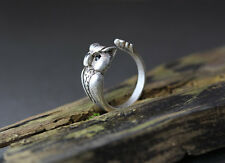 Owl Animal Ring Adjustable Silver Bird Finger Wrap It's A Hoot AR-23