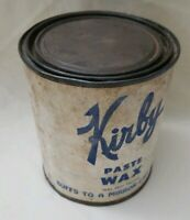 """Vintage Can of KIRBY PASTE WAX rust can half full 5"""" tall"""