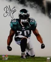 Brian Dawkins Autographed Eagles 16x20 PF Photo Kneeling in Smoke JSA W Auth *Bk