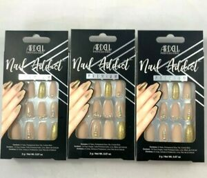ARDELL Nail Addict Premium Artificial Nail Set NUDE JEWELED, includes 3 BOXES