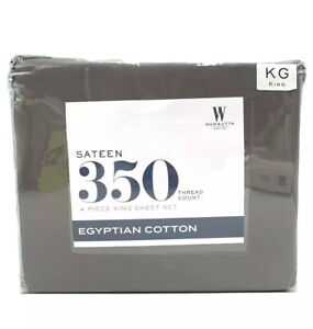 Wamsutta Sateen 350 Thread Count 100% Egyptian Cotton Sheet Set King Grey NEW