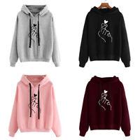 Women Fall Sweatshirt Hoody Ladies Love Heart Finger Hood Casual Hoody Pullovers