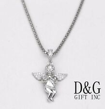 "Prayer Mini Pendant,18"" Box Necklace*Box Dg Women's 925 Sterling Silver,Cz Angel"