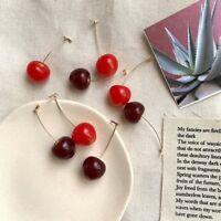 Women Sweet Cherry Fruit Simulation Earrings Dangle Drop Ear Stud Jewelry Gift