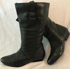 Profile Black Mid Calf Leather Lovely Boots Size 4 (78v)