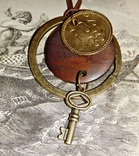 STEAMPUNK hotel SKELETON KEY fob brass pendant necklace industrial urban E5