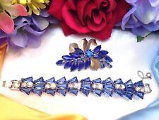 Beautiful Vintage JULIANA Royal Blue Keystone Rhinestone Bracelet Brooch Lot