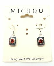 "Silver & Gold Hook Earrings 1"" Michou Red Garnet January Rectangular Sterling"