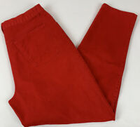 Vtg 90's Womens Pants Red Brushed Denim High Rise Mom Jeans Cotton Size 14