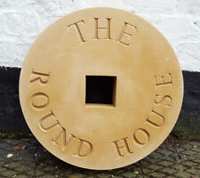 Deeply engraved Millstone house sign or family name stone 460mm diameter