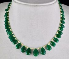 NATURAL ZAMBIAN EMERALD TEAR DROPS BEADS 40 PCS 88.50 CTS GEMSTONE NECKLACE
