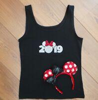 Glitter 2019 Disney Vacation Black Vest Top  (Size 8-16)